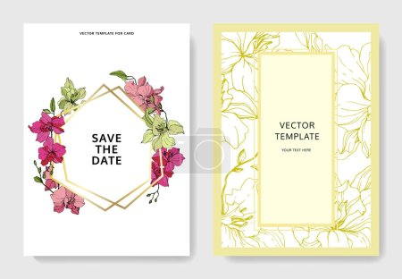 Photo for Beautiful orchid flowers engraved ink art. Wedding cards with floral decorative borders. Thank you, rsvp, invitation elegant cards illustration graphic set. - Royalty Free Image