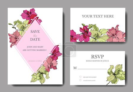 Illustration for Beautiful orchid flowers engraved ink art. Wedding cards with floral decorative borders. Thank you, rsvp, invitation elegant cards illustration graphic set. - Royalty Free Image