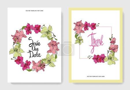 Belles fleurs d'orchidée gravées art à l'encre. Cartes de mariage avec bordures décoratives florales. Merci, rsvp, invitation cartes élégantes illustration ensemble graphique .