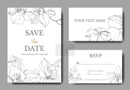 Illustration for Beautiful Vector Orchid Flowers. Silver engraved ink art. Wedding cards with floral decorative borders. Thank you, rsvp, invitation elegant cards illustration graphic set. - Royalty Free Image