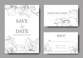 """Постер, картина, фотообои """"Красивые Векторные цветы орхидеи. Серебряный искусства чеканки чернил. Свадебные открытки с цветочные декоративные рамки. Спасибо, rsvp, приглашение элегантной карты иллюстрации графический набор."""""""