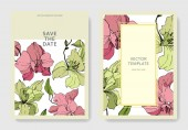 Beautiful orchid flowers engraved ink art Wedding cards with floral decorative borders Thank you rsvp invitation elegant cards illustration graphic set