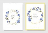"""Постер, картина, фотообои """"Вектор. Голубые цветы льна. Гравированные чернила искусство. Свадебные открытки с цветочные декоративные рамки. Спасибо, rsvp, приглашение элегантной карты иллюстрации графический набор."""""""