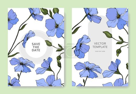 Illustration for Vector. Blue flax flowers. Engraved ink art. Wedding cards with floral decorative borders. Thank you, rsvp, invitation elegant cards illustration graphic set. - Royalty Free Image