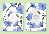 Vector Blue flax flowers Engraved ink art Wedding cards with floral decorative borders Thank you rsvp invitation elegant cards illustration graphic set