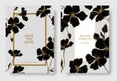 """Постер, картина, фотообои """"Вектор. Лен цветы. Гравированные чернила искусство. Свадебные открытки с цветочные декоративные рамки. Спасибо, rsvp, приглашение элегантной карты иллюстрации графический набор"""""""