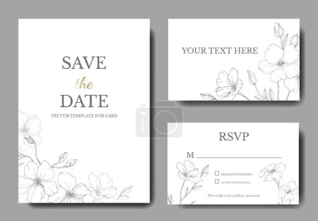 Illustration for Vector. Flax flowers. Engraved ink art. Wedding cards with floral decorative borders. Thank you, rsvp, invitation elegant cards illustration graphic set. - Royalty Free Image