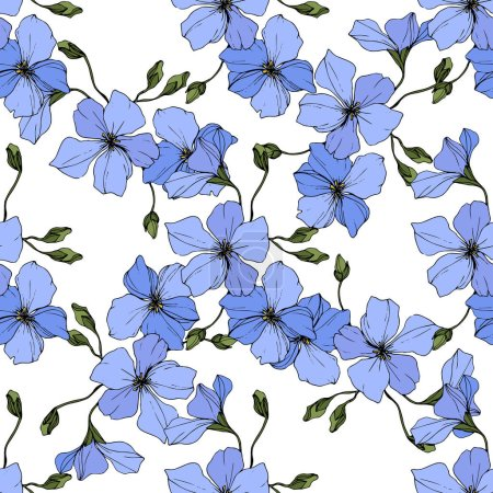 Illustration for Beautiful blue flax flowers. Engraved ink art. Seamless pattern on white background. Fabric wallpaper print texture. - Royalty Free Image