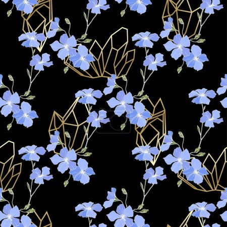 Illustration for Vector. Blue flax flowers. Spring wildflowers. Engraved ink art. Seamless pattern on black background. Fabric wallpaper print texture. - Royalty Free Image