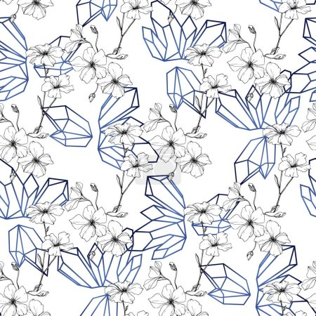 Photo for Beautiful blue flax flowers. Engraved ink art. Seamless pattern on white background. Fabric wallpaper print texture. - Royalty Free Image
