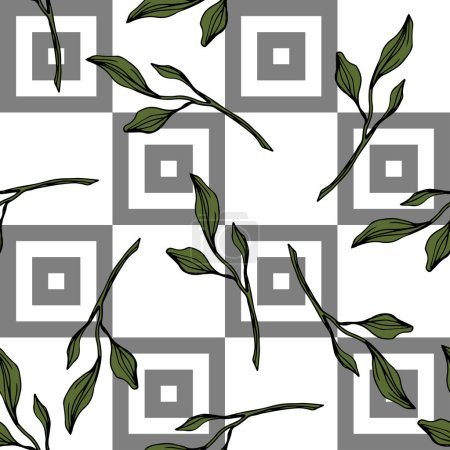 Illustration for Vector. Green leaves botanical garden floral foliage. Engraved ink art. Seamless pattern on white background. Fabric wallpaper print texture. - Royalty Free Image