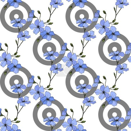 Beautiful blue flax flowers. Engraved ink art. Seamless pattern on white background. Fabric wallpaper print texture.