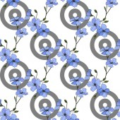 Beautiful blue flax flowers Engraved ink art Seamless pattern on white background Fabric wallpaper print texture