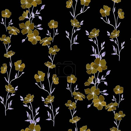 Illustration for Vector. Flax flowers. Engraved ink art. Seamless pattern on black background. Fabric wallpaper print texture. - Royalty Free Image