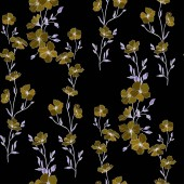 Vector Flax flowers Engraved ink art Seamless pattern on black background Fabric wallpaper print texture