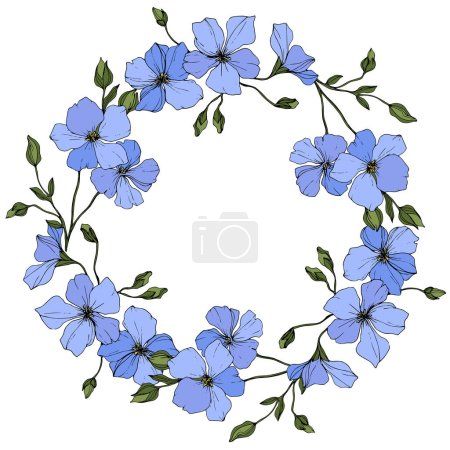 Illustration for Vector. Blue flax flowers with green leaves isolated on white background. Engraved ink art. Frame floral wreath. - Royalty Free Image