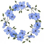Vector Blue flax flowers with green leaves isolated on white background Engraved ink art Frame floral wreath