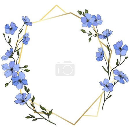 Illustration for Vector. Blue flax flowers with green leaves and buds. Engraved ink art. Frame golden crystal. Geometric crystal stone polyhedron mosaic shape. - Royalty Free Image