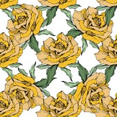 Yellow roses Engraved ink art Seamless background pattern Fabric wallpaper print texture on white background