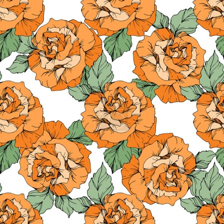 Illustration for Orange roses. Engraved ink art. Seamless background pattern. Fabric wallpaper print texture on white background. - Royalty Free Image