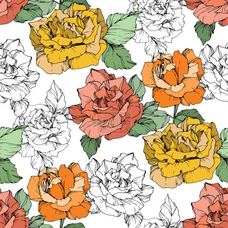 Orange, yellow and coral roses. Engraved ink art. Seamless background pattern. Fabric wallpaper print texture on white background.