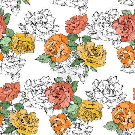 Illustration for Orange, yellow and coral roses. Engraved ink art. Seamless background pattern. Fabric wallpaper print texture on white background. - Royalty Free Image