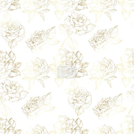 Illustration for Vector Roses. Golden engraved ink art. Seamless background pattern. Fabric wallpaper print texture on white background. - Royalty Free Image