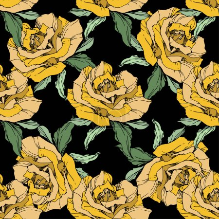 Illustration for Yellow roses. Engraved ink art. Seamless background pattern. Fabric wallpaper print texture on black background. - Royalty Free Image