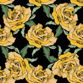 Yellow roses Engraved ink art Seamless background pattern Fabric wallpaper print texture on black background