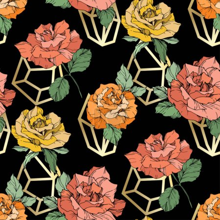 Illustration for Orange, yellow and coral roses. Engraved ink art. Seamless background pattern. Fabric wallpaper print texture on black background. - Royalty Free Image