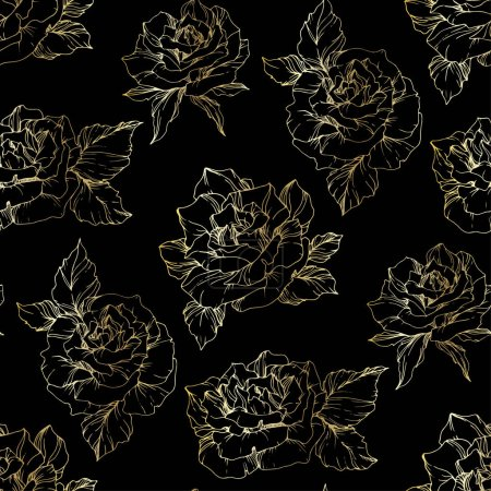 Illustration for Outline rose flowers. Engraved ink art. Seamless background pattern. Fabric wallpaper print texture on black background. - Royalty Free Image