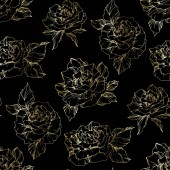 Outline rose flowers Engraved ink art Seamless background pattern Fabric wallpaper print texture on black background