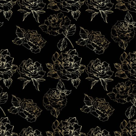 Outline rose flowers. Engraved ink art. Seamless background pattern. Fabric wallpaper print texture on black background.