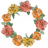 Vector rose flowers floral wreath on white background Yellow orange and coral roses engraved ink art