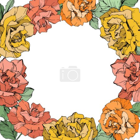 Illustration for Vector rose flowers floral wreath on white background. Yellow, orange and coral roses engraved ink art. - Royalty Free Image