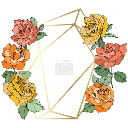 Vector. Rose flowers and golden crystal frame. Orange, yellow and coral roses engraved ink art. Geometric crystal polyhedron shape on white background.