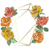 Vector Rose flowers and golden crystal frame Orange yellow and coral roses engraved ink art Geometric crystal polyhedron shape on white background