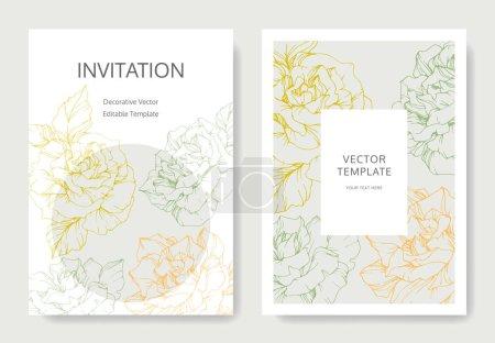 Illustration for Vector rose flowers. Wedding cards with floral borders. Thank you, rsvp, invitation elegant cards illustration graphic set. - Royalty Free Image