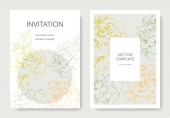 Vector rose flowers Wedding cards with floral borders Thank you rsvp invitation elegant cards illustration graphic set