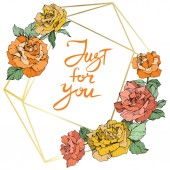 Vector Rose flowers and golden crystal frame Orange yellow and coral roses engraved ink art Geometric crystal polyhedron shape on white background Just for you handwriting monogram calligraphy