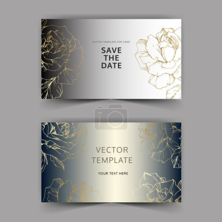 Illustration for Vector. Golden rose flowers on silver cards. Wedding cards with floral decorative borders. Thank you, rsvp, invitation elegant cards illustration graphic set. Engraved ink art. - Royalty Free Image