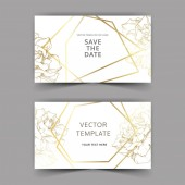 Vector Golden rose flowers on cards Wedding cards with golden borders Thank you rsvp invitation elegant cards illustration graphic set Engraved ink art