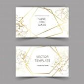 """Постер, картина, фотообои """"Вектор. Золотая Роза цветы на картах. Свадебные открытки с золотой границы. Спасибо вам, rsvp, приглашение элегантной карты иллюстрации графический набор. Художественная гравировка чернил."""""""