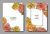 Vector rose flowers Wedding cards with floral borders Thank you rsvp invitation elegant cards illustration graphic set