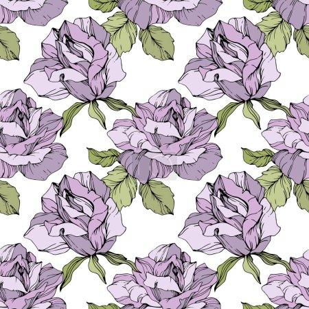 Illustration for Purple roses. Engraved ink art. Seamless background pattern. Fabric wallpaper print texture on white background. - Royalty Free Image