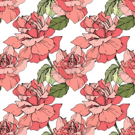 Illustration for Pink roses. Engraved ink art. Seamless background pattern. Fabric wallpaper print texture on white background. - Royalty Free Image