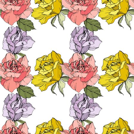Illustration for Pink, yellow and purple roses. Engraved ink art. Seamless background pattern. Fabric wallpaper print texture on white background. - Royalty Free Image