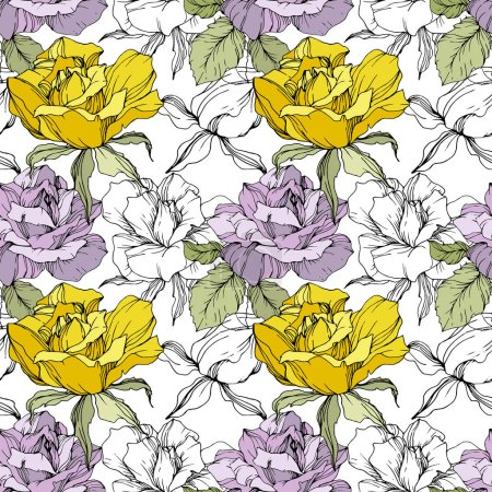 Illustration for Yellow and purple roses. Engraved ink art. Seamless background pattern. Fabric wallpaper print texture on white background. - Royalty Free Image