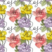 Pink, yellow and purple roses. Engraved ink art. Seamless background pattern. Fabric wallpaper print texture on white background.