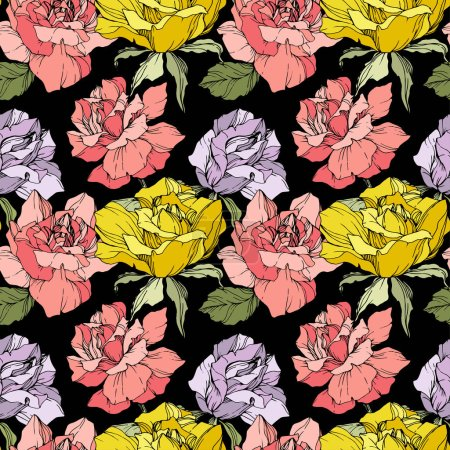 Illustration for Pink, yellow and purple roses. Engraved ink art. Seamless background pattern. Fabric wallpaper print texture on black background. - Royalty Free Image